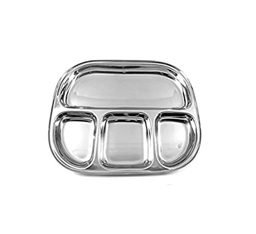 (bona fide Stainless Steel Oval Shape Thali Plate, 4 compartment Thali, Mess Trays, Kids Lunch and Dinner or Every Day Use 13 X 13 Inch)