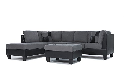 3-Piece Modern Reversible Microfiber / Faux Leather Sectional Sofa Set w/ Ottoman (Grey)