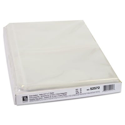 Clear Photo Pages for Four 5x7 Photos, 3-Hole Punched, 11-1/4 x 8-1/2, 50/Box, Sold as 50 Each (Cline Clear Photo Holders)