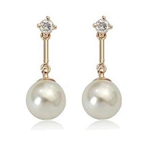 2018 MOTHERS DAY LOVE ROMANTIC HOLIDAY GIFT 18K Gold Plated Swarovski Crystals Bar Style White Pearl Bridal Drop Dangle Earrings (7mm White Crystal Pearl Earrings)