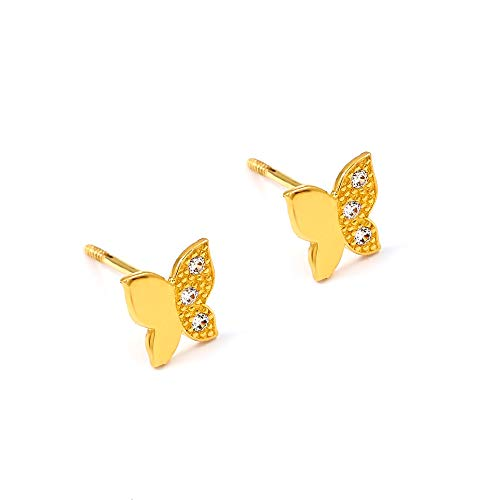 Balluccitoosi 14k Gold Tiny Stud Earrings for Women & Girls - Real Hypoallergenic, Small & Minimalist (Butterfly Pave CZ Stud Earrings)