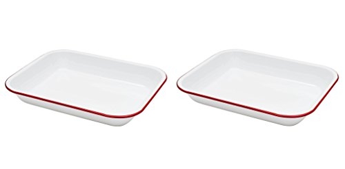 Crow Canyon - Set of 2 Enamelware Large 3 Quart Roasting Pans (White with Red Rim) from Crow Canyon Home