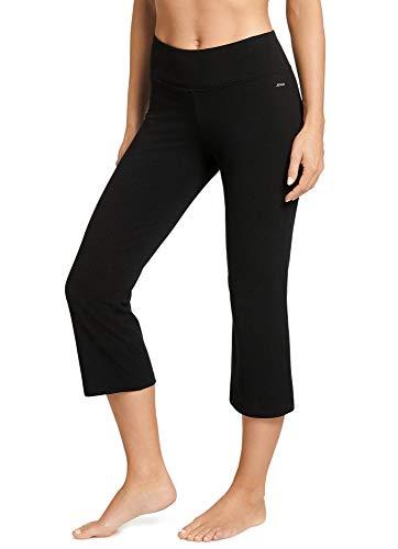 Jockey Women's Slim Capri Flare Athletic Pant, Deep Black, X-Large
