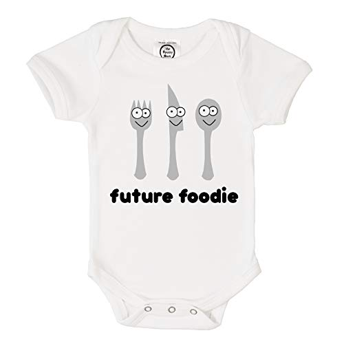 The Spunky Stork Future Foodie Organic Cotton Baby Bodysuit (3-6M) White ()