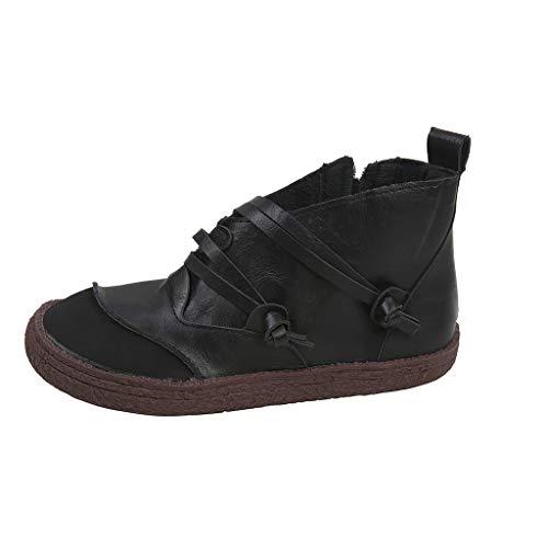 ANJUNIE Women's Ladies Retro Zipper Short Ankle Boots Flat Faux Leather Leisure Shoes
