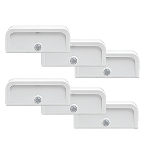 Mr. Beams MB706 Wireless Motion-Sensing Mini Stick-Anywhere LED Nightlights, Small, White, 6-Pack
