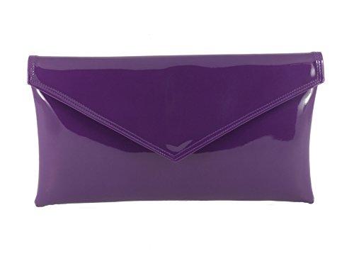 Loni - Bolso clutch de piel sintética, tipo sobre/con correa para hombro Purple(Cadbury Purple)