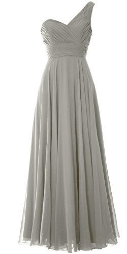 Silber Shoulder Party Evening Gown Long Women Bridesmaid One Macloth Dress Wedding