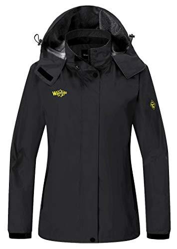 Wantdo Women's Outerwear Mountain Waterproof Jacket Hooded Hiking Sportswear, Small, Black