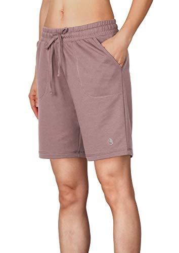 icyzone Dames sweatshorts bermuda shorts korte sportbroek sweatpants effen losse loopshorts