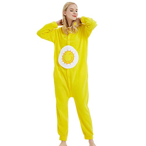 Yellow Care Bear Costume (Onesie Care Bear Jumpsuit Fleece Animal Soft Pajamas Christmas Gift Halloween Cosplay)