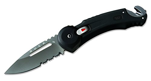 Buck Knives 0753YWX Redpoint Rescue Tactical Folding Knife Strap Cutter Glass Breaker, Black