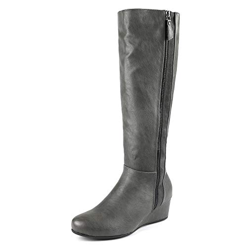 Gray Boots Leather - DREAM PAIRS Women's Consta Grey Low Wedge Knee High Winter Boots Size 9.5 M US
