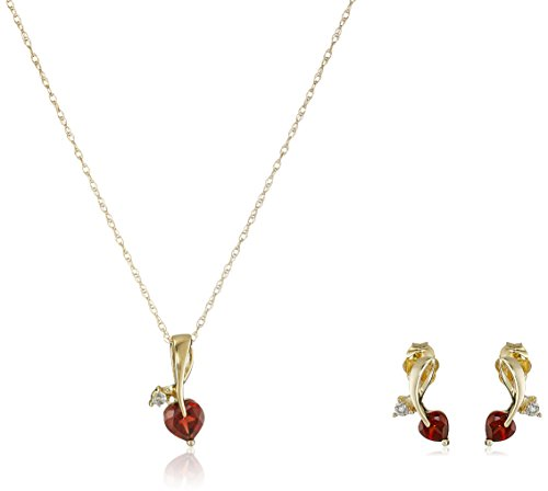 10k Yellow Gold Garnet and Diamond Accent Leaf Heart Pendant Necklace and Earrings Jewelry Set, 18