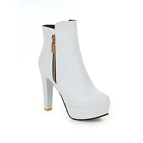 Leather White Chunky Zipper Heels Ladies Imitated 1TO9 Platform Boots HzwYc8