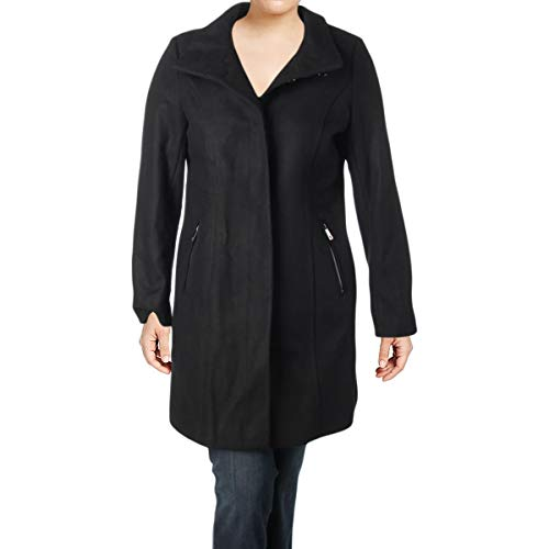 Coat Walker Leather (Kenneth Cole New York Womens Winter Wool Blend Car Coat Black 16)