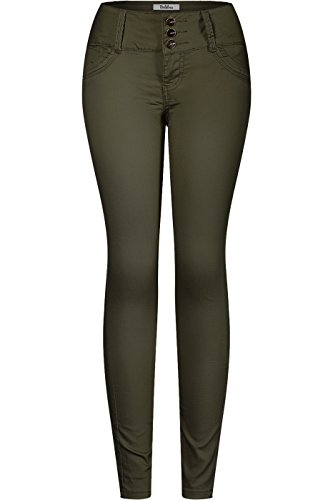 Three Button Uniform - 2LUV Women's 3 Button Stretchy Uniform Pants Skinny Color Jeans Dark Green 15
