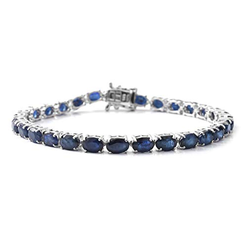 Shop LC Delivering Joy Tennis Bracelet 925 Sterling Silver Platinum Plated Oval Diffused Blue Sapphire Gift Jewelry for Women Size 7.25