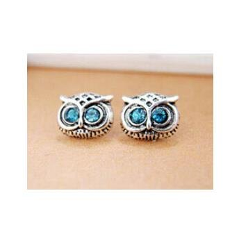 UPC 680262474865, 4 Colors Vintage EYE Owl Earrings Zinc Alloy Crystal Stud Earings Brand Antique Copper Plated Jewery for Women (silver blue)