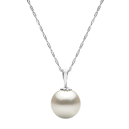 14k White Gold Drop Pendant - 14K White Gold Chain White Freshwater Cultured Pearl Pendant Girls Necklace 18 inch