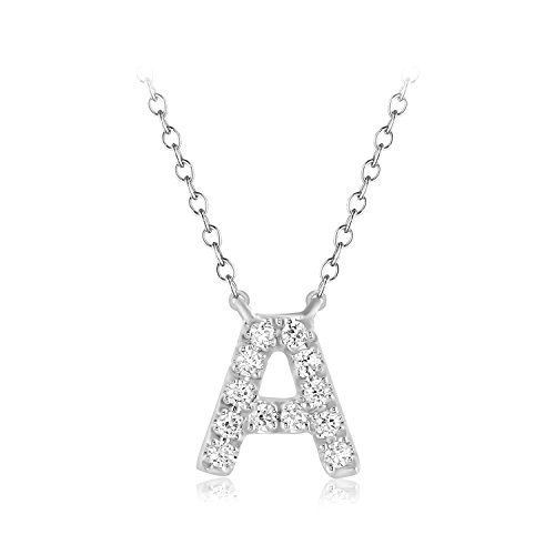 CARATS FOR YOU .925 Sterling Silver 0.06ct Genuine Real Round Cut Natural Diamond A Initial Alphabet Pendant Chain Necklace For Women 18 inch from CARATS FOR YOU