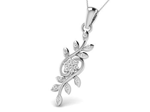 Or Blanc 9 ct Pendentifs Diamant en forme de Fleur, 0.18 Ct Diamant, GH-SI, 0.92 grammes.