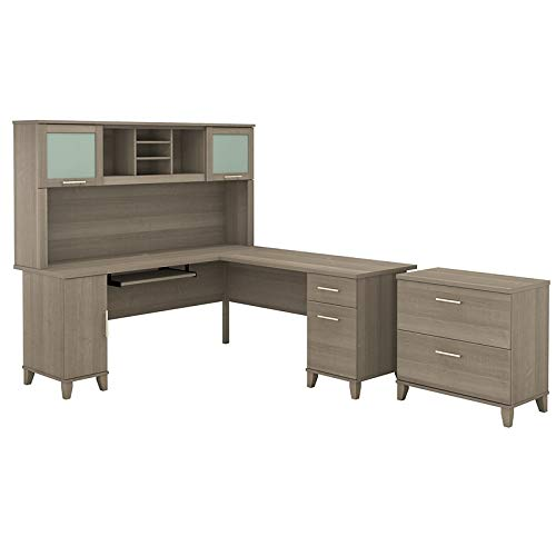 Bush Furniture Somerset 72W L Shaped Desk with Hutch and Lateral File Cabinet in Ash Gray ()