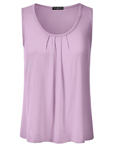 (EIMIN Women's Pleated Scoop Neck Sleeveless Stretch Basic Soft Tank Top Lilac M)