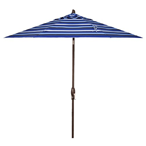 Treasure Garden 9-Foot (Model 810) Deluxe Auto-Tilt Market Umbrella Bronze Frame Sunbrella Fabric: Milano Cobalt Stripe (Includes 3 Year Extended Frame Warrantee) ()