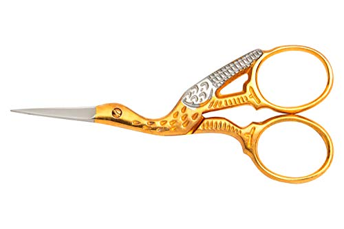 Mundial 3-1/2-Inch Classic Forged Stork Embroidery Scissors, Gold Plated - Scissors Embroidery Stork