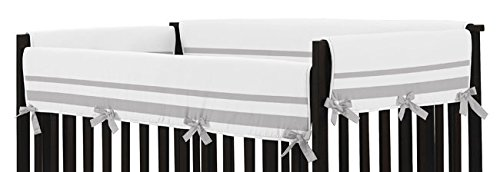 Sweet Jojo Designs White and Gray Modern Hotel Long Front Rail Guard Baby Boy or Girl Teething Cover Protector Unisex Crib Wrap