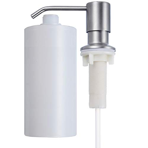 Liquid Soap Dispenser Finish - Primart Soap Dispenser for Kitchen Sink (Brushed Nickel), Refill From the Top, Commercial Grade Liquid Dish Dispensers Pump, Built in Design with Large 17 oz Bottle, Stainless Steel