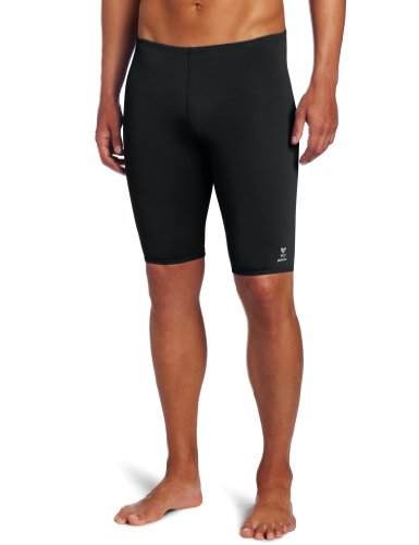 TYR Men's Solid Durafast Jammer Swim Suit (Black, - Swim Jammer
