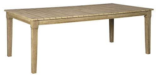 Signature Design by Ashley P801-625 Clare View RECT Dining Table w/UMB Opt, Beige (Furniture Patio Summer Cottage)