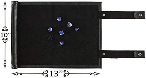 Oterri Dice Tray Compatible with DND Dice PVC Leather Rolling Mat with Zippered for Scroll Dice Tray Storage Pouch Holds up to All Tabletop RPGs and Dungeons /& Dragons Game Dice Beige