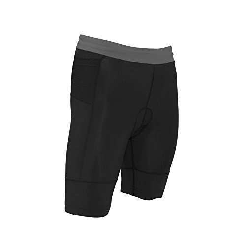 Kona Women's Triathlon Shorts with 2 rear pockets for energy gels (Light Grey, ()
