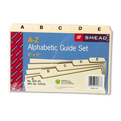 * Self-Tab Card Guides, Alpha, 1/5 Tab, Manila, 5 x 8, 25/Set