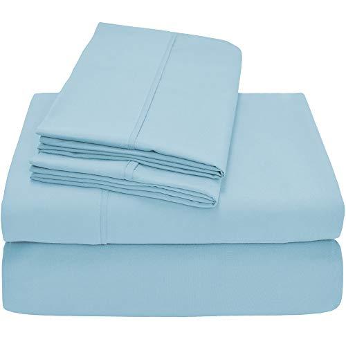 Bare Home Premium 1800 Ultra-Soft Microfiber Collection Sheet Set - Double Brushed - Hypoallergenic - Wrinkle Resistant - Deep Pocket (Cal King, Light Blue)