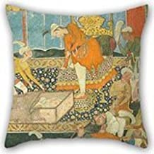 Alphadecor Oil Painting Unknown, India, 16th Century - Illustration From The Qissa-i Amir Hamza Pillow Cases ,best For Kitchen,bedroom,bf,couch,play Room,gril Friend 18 X 18 Inches / 45 By 45 Cm(two