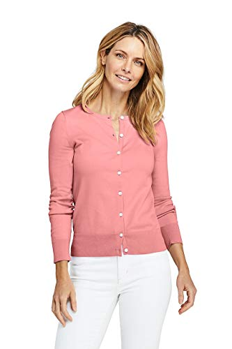 Lands' End Women's Supima Cotton Cardigan Sweater, S, Conch Pink