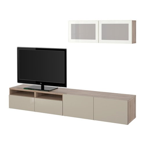 Ikea TV storage combination with soft-closing drawers and glass doors, walnut effect light gray, Selsviken high gloss/beige frosted glass 12202.23817.634
