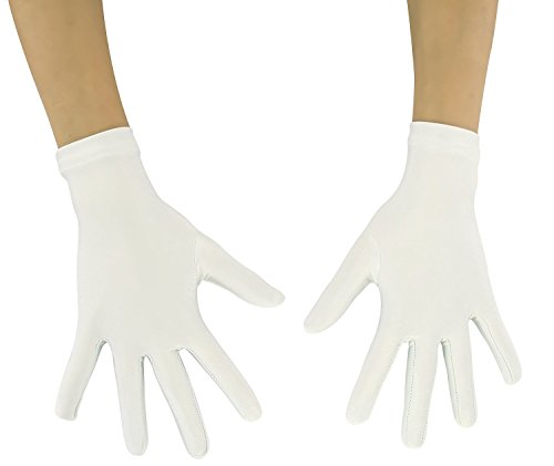 Ensnovo Adult Wrist Length Lycra Spandex Full Finger Stretchy Short Gloves White M ()