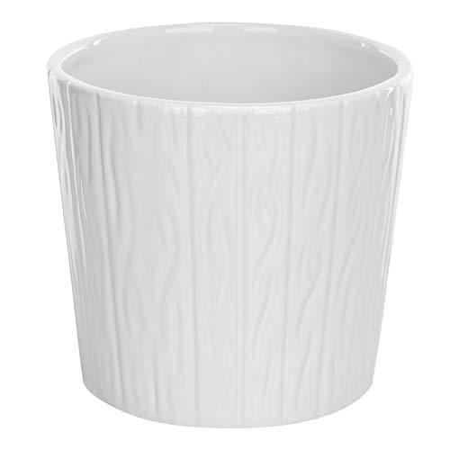 MyGift 5-Inch Ribbed White Ceramic Succulent Planter Pot