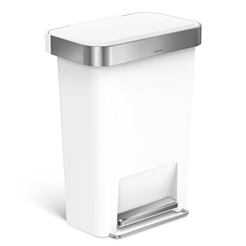 simplehuman 45 Liter / 12 Gallon Rectangular Kitchen Step Trash Can with Liner Pocket, White Plastic With Stainless Steel Liner Rim And Step Pedal (White Kitchen Pedal Bin)