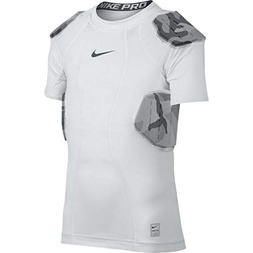 (Nike Youth Pro Combat Hyperstrong 4-Pad Camo Football Shirt, (White/Grey, L))