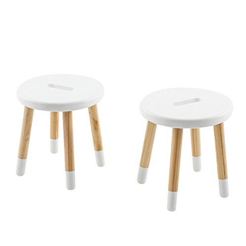 Max & Lily Natural Wood Kid and Toddler Stool, White, Set of 2