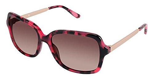 Nicole Miller Marcy Sunglasses - Frame RED TORTOISE, Lens Color Gradient Dark Brown, Size 56/16mm
