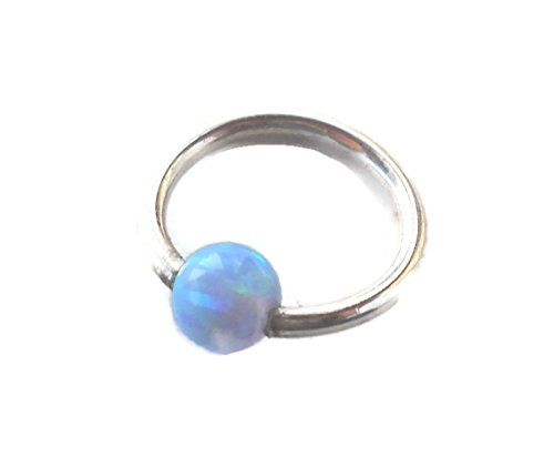 Captive Light Blue Fire Opal Bead Septum,Upper Ear Daith Rook,Tragus,Cartilage Hoop Earring,Nose Ring,Eyebrow Piercing,925 Sterling Silver 16G-10mm