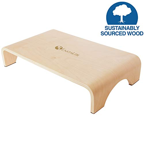 EARTHLITE Wooden Step Stool - 4'' High, Large Surface, Strong & Stable Bed Step, Foot Stool, Massage Step-Up