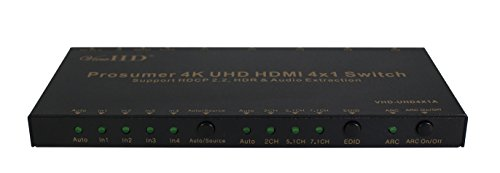 ViewHD Prosumer 4K UHD 18Gbps HDMI 4x1 Switch Support HDMI v2.0 | HDCP 2.2 | HDR & Dolby Vision | ARC | Audio Extraction: Optical Audio Output | RS232 | Model: VHD-UHD4X1A by ViewHD